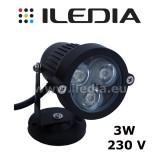 Lampa ogrodowa LED 3W 230V barwa biała ciepła / zimna
